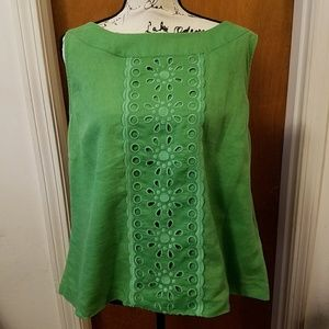 Linen Embroidered Green Boden Tank